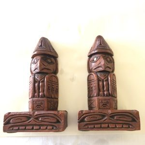 Creed Totems Hand Carved Wooden Eagle Bookends